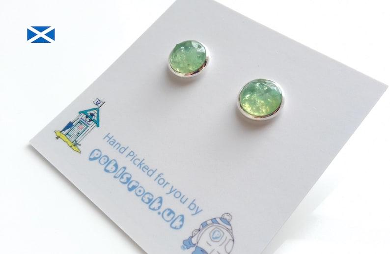 Scottish Sea Glass Rockpool earrings of Light Green Sea Glass image 0