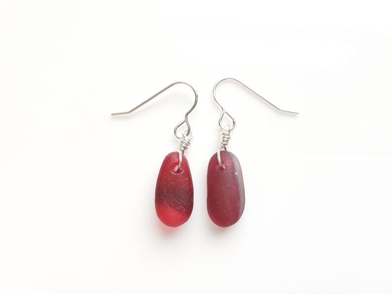 Pink Multi Seaham Sea Glass earrings suspended from Sterling image 0