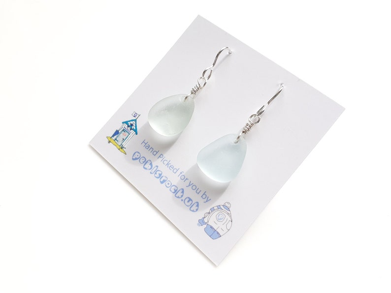 Sea Glass Dangle and drop earrings of Pastel Aqua Blue Sea image 0