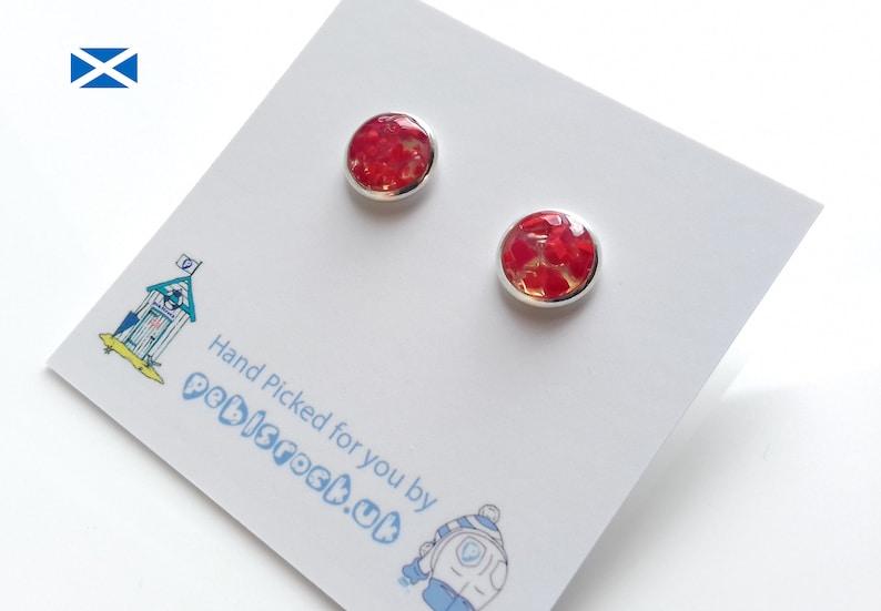Scottish Sea Glass Rockpool earrings of Red Flash Sea Glass  image 0