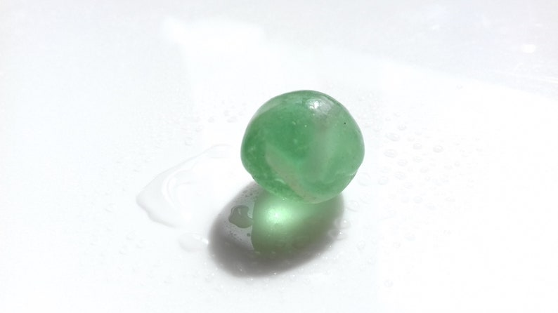 Green & White swirl marble  M3043  from Seaham beach  UK image 0