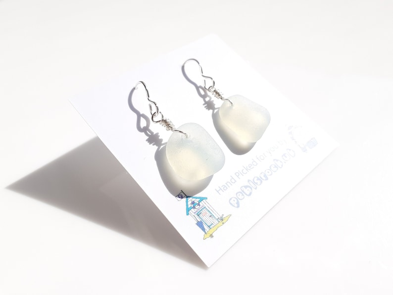 Sea Glass Dangle and drop earrings of Opalescent Sea Glass  image 0