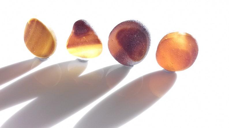 Collectors Seaglass  Set of Amber and Brown sea glass pebls  image 0