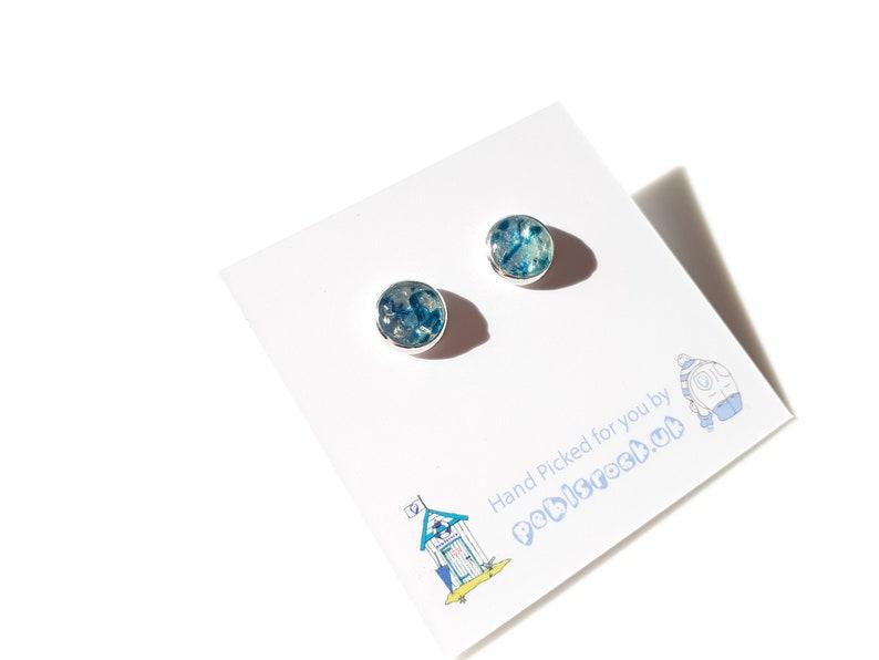 Sea Glass Rockpool 8mm earrings of Teal Multi Sea Glass  image 0