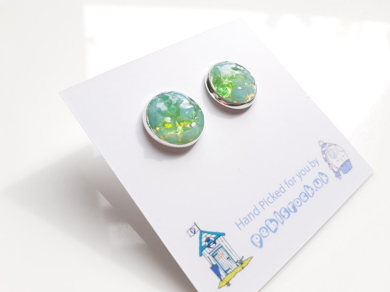Sea Glass Rockpool 12mm stud earrings of Pastel Blue and Green image 0
