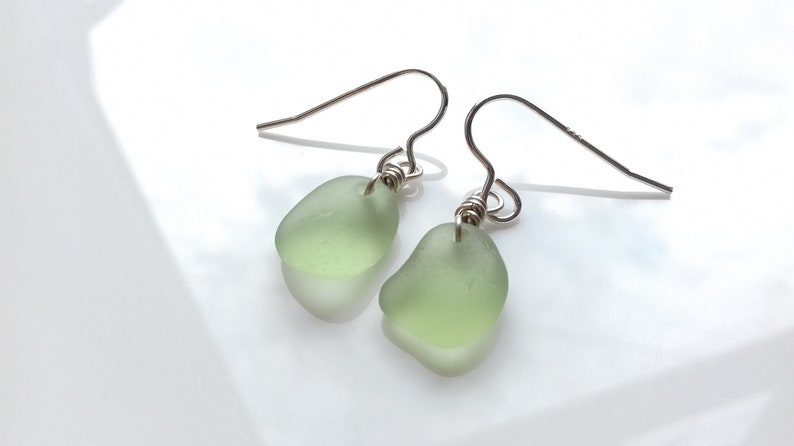 Seaham Sea Glass Earrings of Sage Green Sea Glass  E2113 image 0