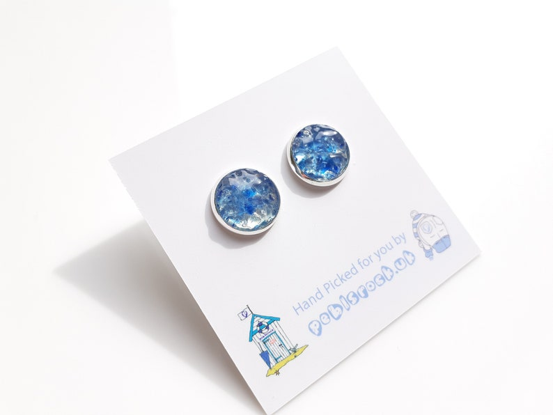 Sea Glass Rockpool 12mm stud earrings of Cobalt Blue and Aqua image 0