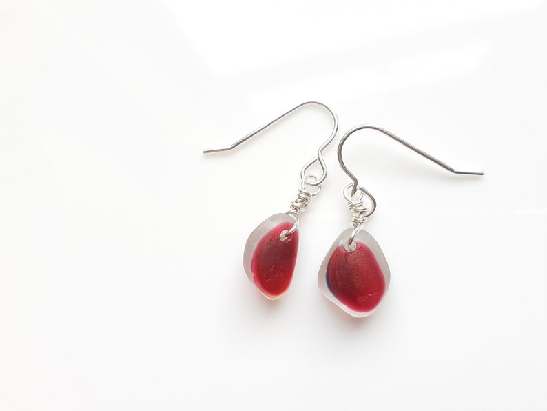 Magenta Pink multi Seaham Sea Glass earrings suspended from image 0