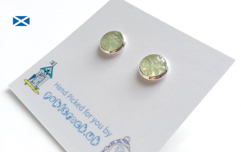 Scottish Sea Glass Rockpool earrings of Pastel UV Green image 0