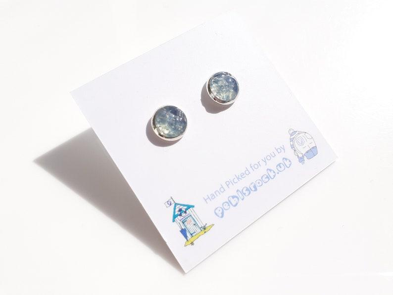 Sea Glass Rockpool 8mm stud earrings of Blue Grey Sea Glass  image 0