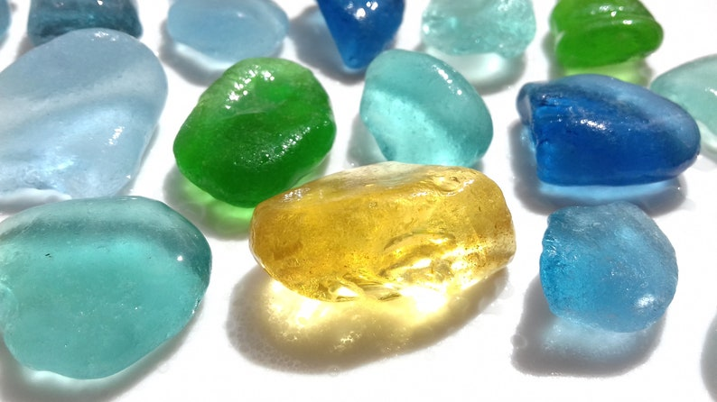 Collection of Seaham Sea Glass in shades of blues greens and image 0