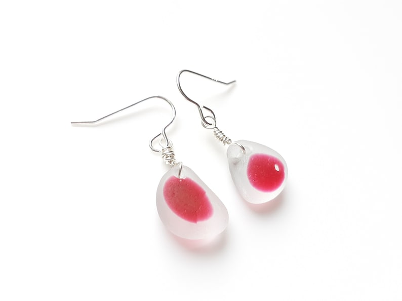 Deep Pink multi Seaham Sea Glass earrings suspended from image 0