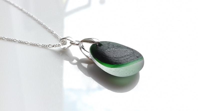 Seaham Sea Glass Multi pendant of Deep Green Sea Glass  E2114 image 0