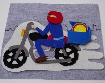 Pizza Delivery On A Motorcycle- Quiet Book Page /Felt Activity Page /Fine Motor Skills /Gift for Kid /Birthday Gift For Toddler /Unique Gift