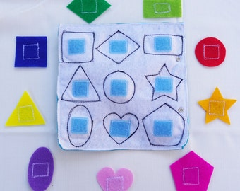 Colours & Shapes Quiet Book Page / Quiet Book Page / Gift for Kid  / Travel Toy / Learning Toy /
