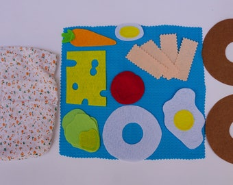 Making a Bagel- Quiet Book Page / Felt Activity Page / Birthday Gift For Toddler / Learning Toy / Unique Gift / Personalized / Sensory Toy /