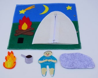 Quiet Book Page / Camping- Tent with Zipper / Felt Activity Page / Fine Motor Skills /Gift for Kid / Birthday Gift For Toddler /Learning Toy