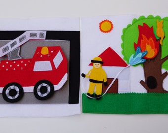 Double Page: Fireman and Fire Truck / 2 Years Birthday / Felt Activity Page / Fine Motor Skills / Birthday Gift For Toddler / Unique Gift /