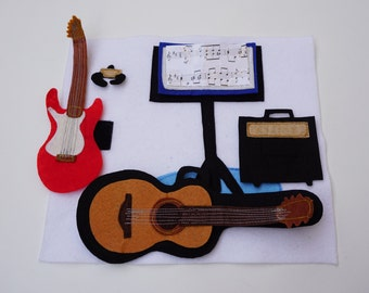 Guitars- Quiet Book Page / 2 Years Birthday / Felt Activity Page / Fine Motor Skills / Birthday Gift For Toddler and Baby / Unique Gift /