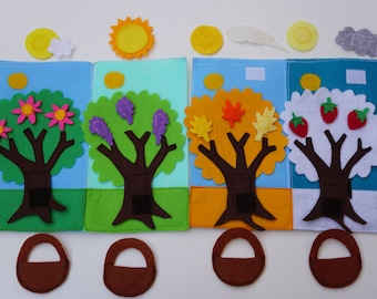 Double Page: Four Seasons- Quiet Activity Book /2 Years Birthday /Felt Activity Page / Fine Motor /Birthday Gift For Toddler /Unique Gift