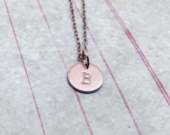 rose gold initial necklace capital letter personalized jewelry letter b necklace all letters available mothers necklace hand stamped