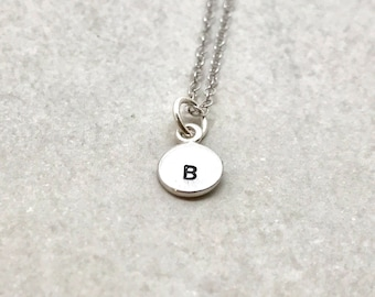 mini initial necklace sterling silver letter b necklace all letter available hand stamped jewelry mothers necklace gifts for her