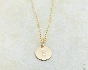 gold initial necklace upper case letter personalized jewelry letter b necklace all letters available mothers necklace custom initial