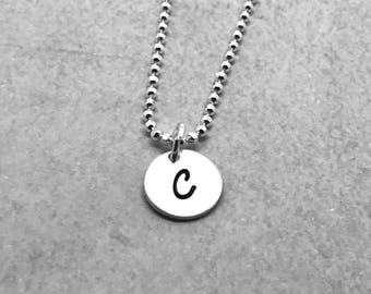 Initial Necklace, Sterling Silver, Letter C Necklace, All Letters Available, Hand Stamped Jewelry, Mother's Day Gift, Mother's Necklace
