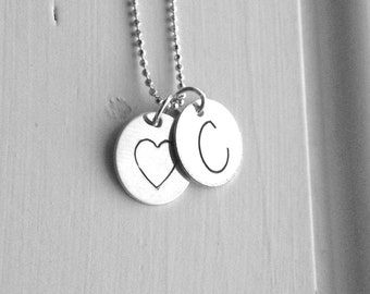 Letter C Initial Necklace, Sterling Silver Initial Necklace, Letter C Necklace, Initial Heart Necklace, Large Initial Necklace