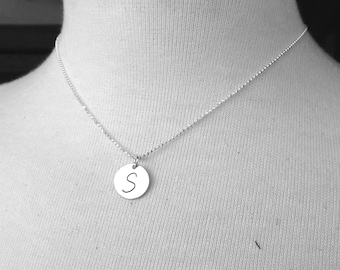 Initial Necklace, Letter S Necklace, S Jewelry, Initial Jewelry, Charm Necklace, Monogram, Sterling Silver Jewelry, All Initials Available