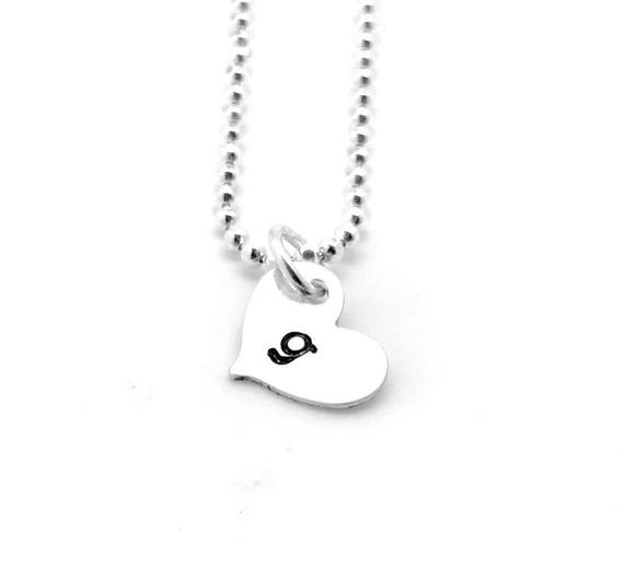 Sterling Silver Square Initial Charm Letter g Lower Case Hand Stamped Pendant with 18 Sterling Silver Bead Chain