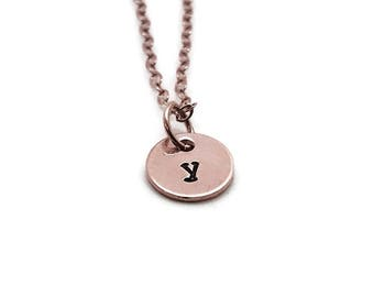 Initial Necklace, Rose Gold, Letter y Necklace, All Letters Available, Hand Stamped Jewelry, Personalized Jewelry, Mother's Necklace, Custom