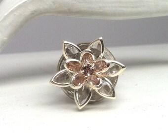 Ring Flower Pink and Crystal Swarovski Adjustable