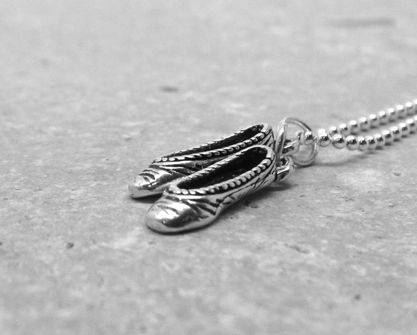 ballet necklace, ballet jewelry, ballet pendant, ballet slipper necklace, charm necklace, sterling silver jewelry, sterling silv