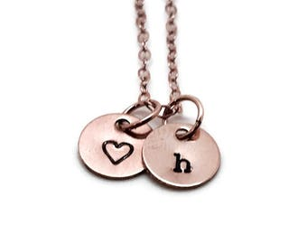 Personalized Heart Necklace, Rose Gold, Letter h Necklace, Initial Necklace, Hand Stamped Jewelry, Mother's Necklace, Heart Jewelry
