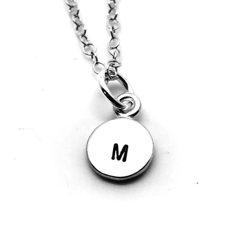 Mini Initial Necklace Mother/'s Necklace Sterling Silver All Letters Available Hand Stamped Jewelry Letter M Necklace Gift for Her