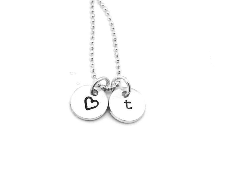 Sterling Silver Diamond Initial Charm Letter e Lower Case Hand Stamped Pendant with 16 Sterling Silver Bead Chain