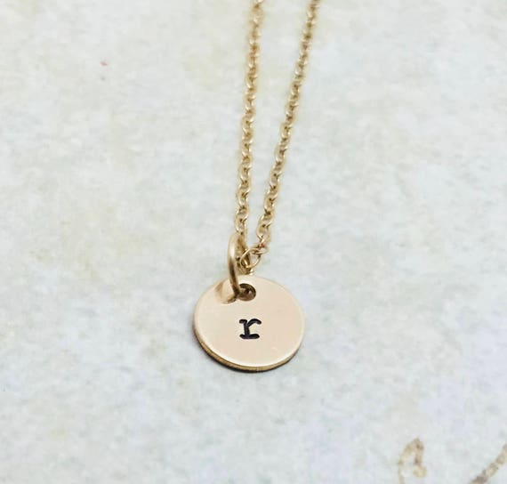 Initial Necklace Gold Letter r Necklace Choose your letter | Etsy