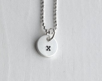Sterling Silver Initial Necklace, Tiny Letter x Necklace, Initial Pendant, Personalized Jewelry, Sterling Silver Jewelry