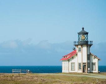 Sentinel of the Sea - Lighthouse Photograph - Coastal Wall Art - Mendocino, California - Nautical Panoramic Decor - 4x12, 8x24
