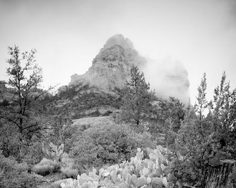 Be Still, Know that I Am - Sedona photography - mountain in mist - Desert Landscape - Healing art, Wall art - B/W Infrared