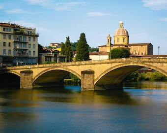 Tuscany photograph - Florence, Italy - Ponte Vecchio over River Arno - Old World Landscape - romantic waterscape - golden sepia, blue, ivory