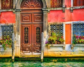 Buon Giorno, Venice - Fine art travel photography - Venice door - windows, flowerpots, wrought iron - pink, brown, green