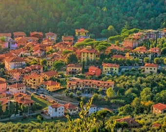 Hills of Montecatini Alto - Tuscany, Italy - Fine art travel photography - dreamy panoramic landscape 4x12