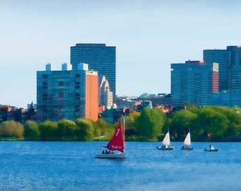 Boston Skyline II - Fine art travel photography -MIT sailboat, John Hancock Tower, Charles River, cerulean waterscape - nautical cityscape
