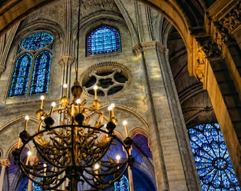 16 x 20 large art print - Evening at Notre Dame - Paris - Fine art photography - Church architecture - chandelier, stained glass windows