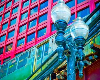 "Wabash L Train (CANVAS, 20 x 20"") - Chicago - Fine art travel photography - urban, unisex gift"