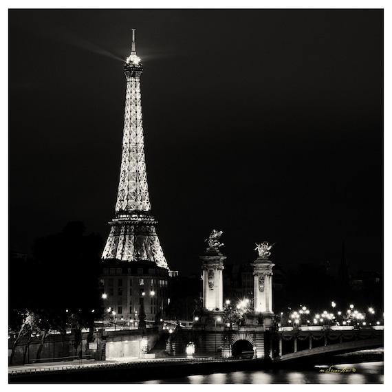 Paris Photo 12x12 Paris After Hours Eiffel City Lights Fine Art Photography Black And White Photography Urban Modern Romantic