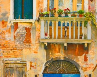 16 x 24 large art print - Venetian Fairy Tale - Fine art photography - Venice - windows, door, architecture - gold, blue, teal - 16x24