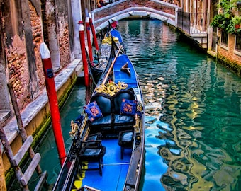 16 x 20 large art print - Intermezzo - Venice, Italy - Fine art travel photography - dreamy - indigo blue, green, red